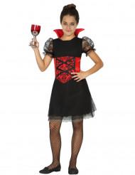 Vampyrklänning med röda detaljer - Masekraddräkt för barn till Halloween
