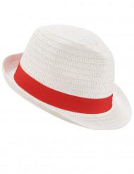 Vit borsalino hatt med rött band