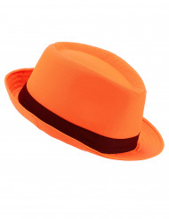 Orange borsalino hatt med svart band