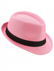 Pink borsalino hatt med svart band