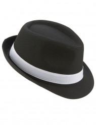 Svart borsalino hatt med vitt band