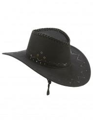 Svart cowboyhatt med fina detaljer - Maskeradhattar