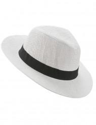 Vit Panama hatt med svart band