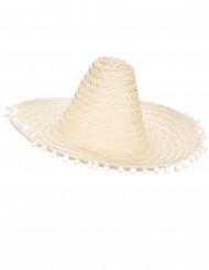 Ljusbeige sombrero med bollfrans runt brättet för vuxna