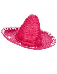 Rosa sombrero med bollfransbrätte för vuxna