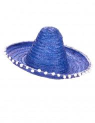 Blå sombrero med bollfrans för vuxna