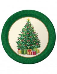 8 kartongtallrikar med tryck av julgran 23 cm