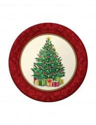 8 kartongtallrikar med dekorativ julgran 18 cm