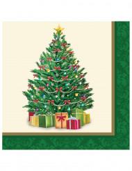 16 servetter med tryck av vacker julgran