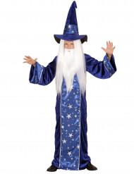 Blå trollkarlsdräkt med stjärnor barn enfant