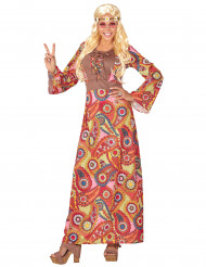 FärggrannHippie- utklädnad långklänning vuxen