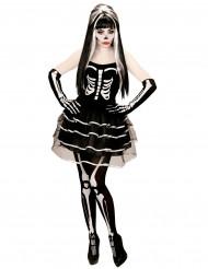 Skelettdräkt med tyllkjol för vuxen till Halloween