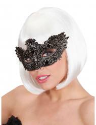 Elegant svart mask med svart strass vuxen