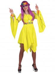 Neongul hippie - utklädnad vuxen
