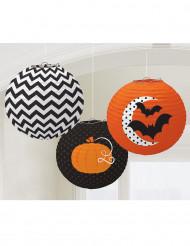 3 lyktor med Halloweenmotiv - Halloweendekoration