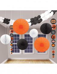 Klassiskt Halloweendekorationskit i svart och orange