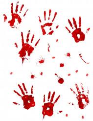Väggklistermärken med blodiga handavtryck till Halloween