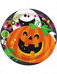 8 kartongrtallrikar med vänliga spöken och pumor till Halloween
