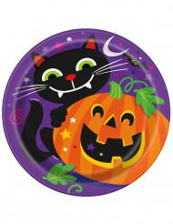 8 Kargongtallrikar med skrattande pumpa - Halloweendukning