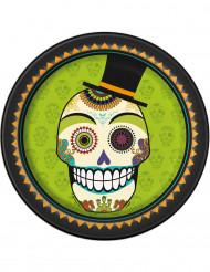 Day of the Dead - 8 Kartongtallrikar till Halloween