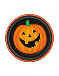 8 tallrikar med pumpartryck 18 cm - Halloweenbjudning
