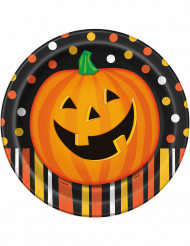 8 kartongtallrikar med pumpor 23 cm - Halloweendekoration