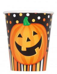 8 muggar med tryck av leende pumpa - Halloweendukning