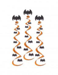 3 hängande Halloweenspiraler med fladdermöss