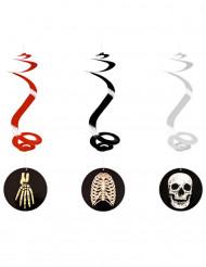 3 hängande spiraler med skelett 60 cm