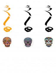 3 hängande spiraler i Dia de los Muertos-stil - Halloweenpynt
