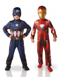 Maskeraddräkt x2 Iron Man™ & Captain America™ barn