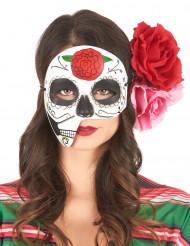 Asymmetrisk mask Dia de los muertos för vuxna
