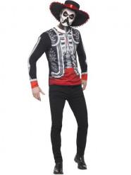 Tröja och hatt till Dia de los Muertos för vuxna