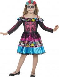 Blommig skelettdräkt för barn till Halloween