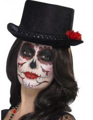 Cylinderhatt i svart med rosor - Hatt till Dia de los Muertos