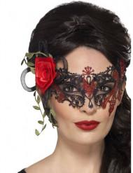 Ögonmask i rött och svart - Halloweenmask för vuxna