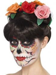 Peruk med rosor för vuxna - Dia de los muertos