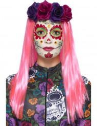 Färgglatt sminkningskit med fejk ögonfransar och smycke i Dia de los muertos anda - Halloween sminkning