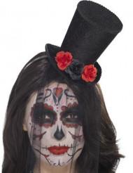 Minihatt med slöja och rosor - Halloweenhatt för vuxna