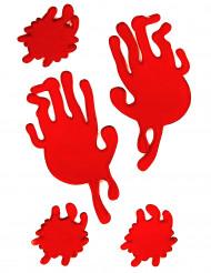 Handavtryck och blodfläckar i geléform