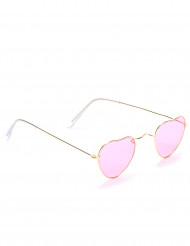 Rosa hjärtformade glasögon med metallbågar för vuxna