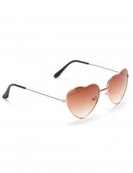 Bruna hjärtformade glasögon med metallbågar för vuxna