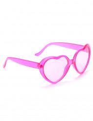 Rosa plastglasögon med hjärtform vuxna