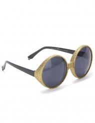 Runda glasögon med gulpaljetter