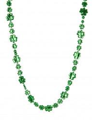 Glittrande grönt fyrklövershalsband St Patrick