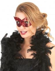 Röda kattögon med paljetter - Ögonmask för vuxna