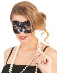 Svart ögonmask med paljetter för vuxna