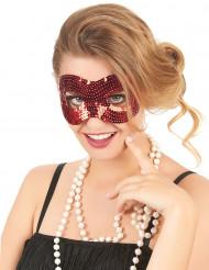 Röd med paljetter - Ögonmask för vuxna