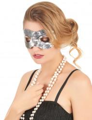 Silverfärgad ögonmask med paljetter för vuxna