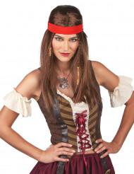 Peruk hippie/pirat med snusnäsduk för vuxna